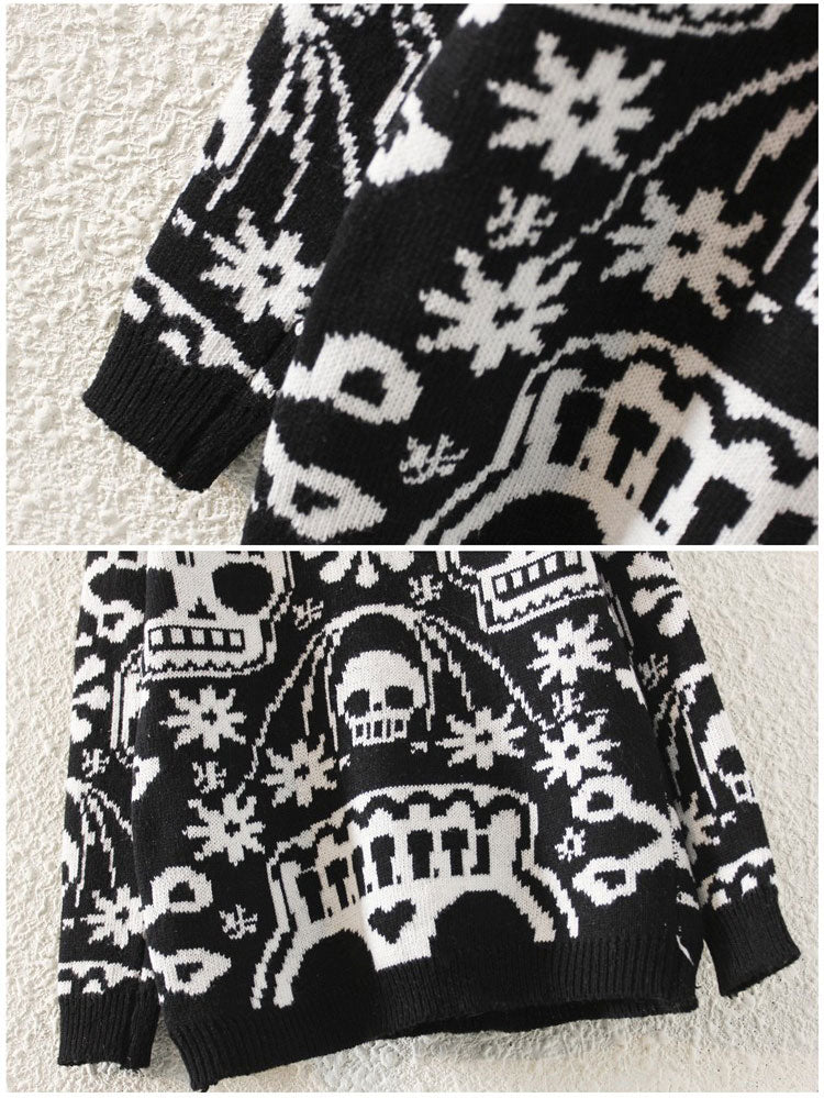 Skull Design Ugly Christmas Sweater