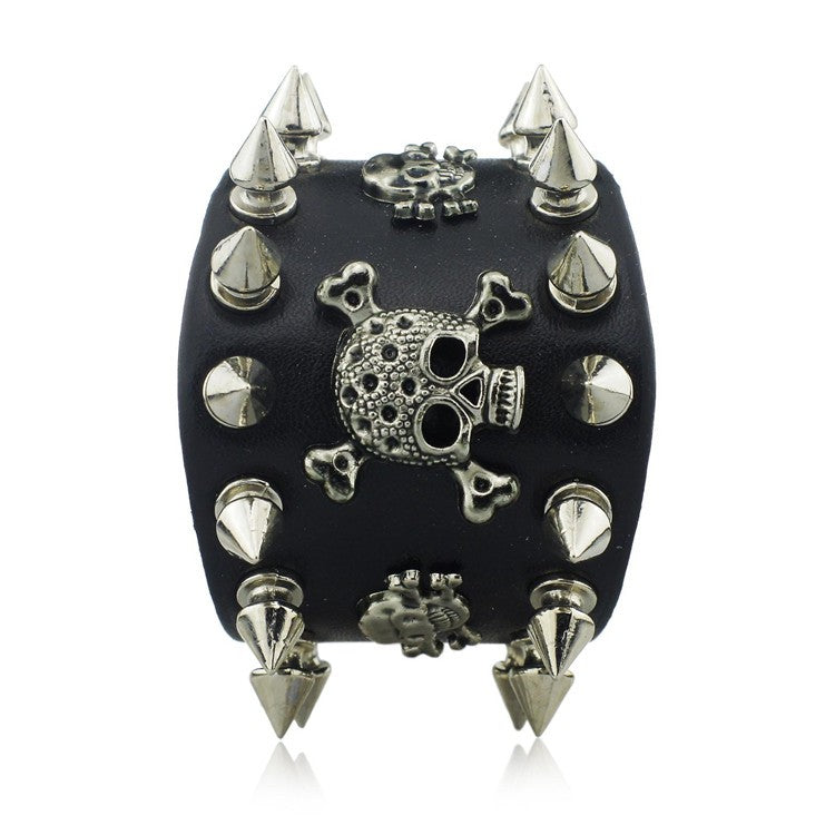 Spiked Skull Wide Cuff Leather Bracelet