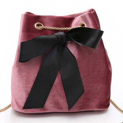 Fashion woman bag with large ribbon bow