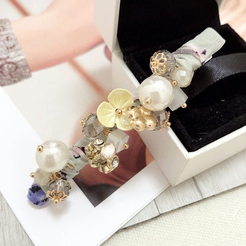 Retro flowers crystal slim clip barrette