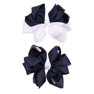 2 pcs white and navy girl clip bows