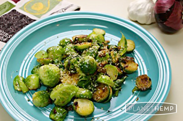 BRUSSELS SPROUTS WITH HEMP HEARTS