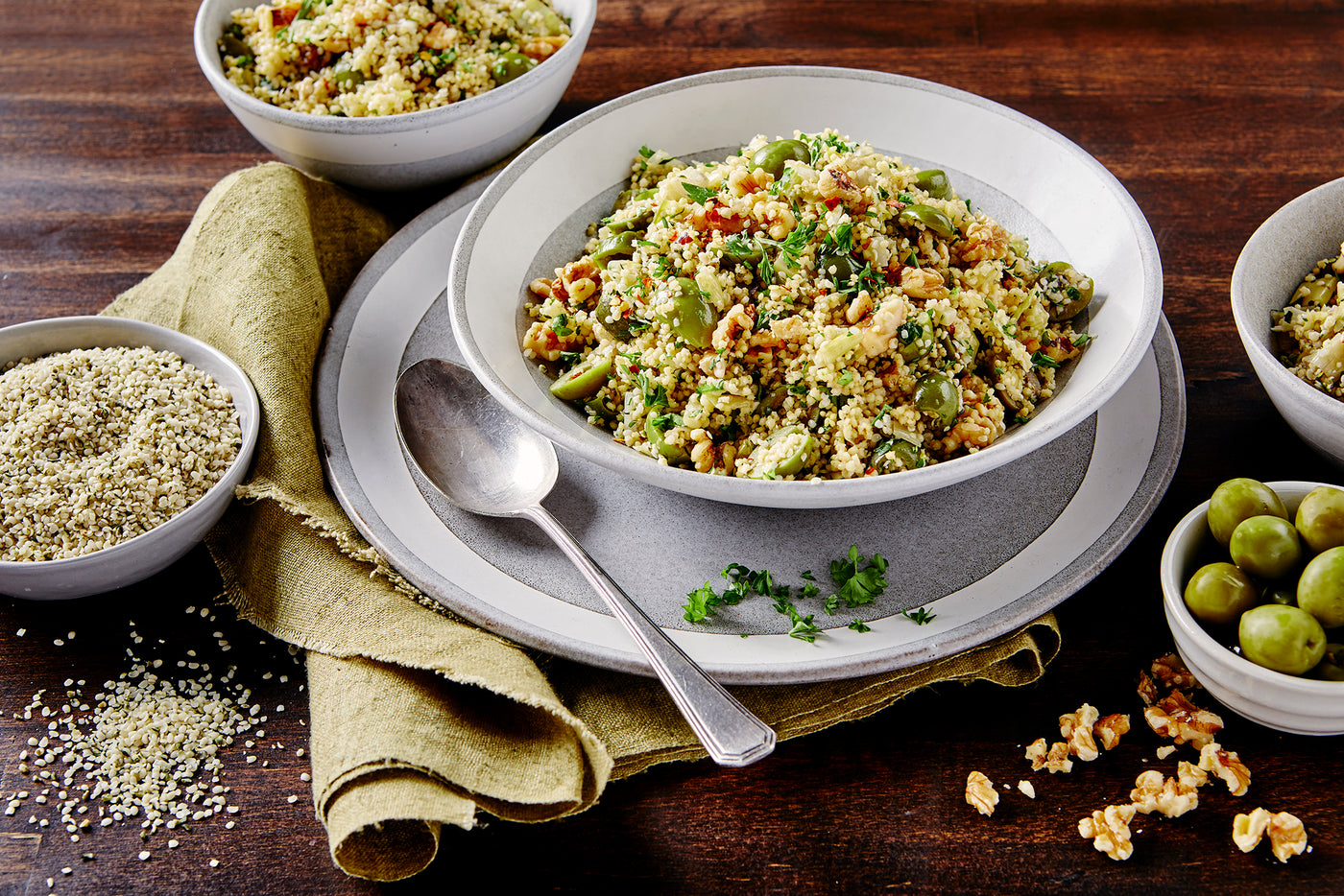Hemp Millet Pilaf with Castelvetrano Olives