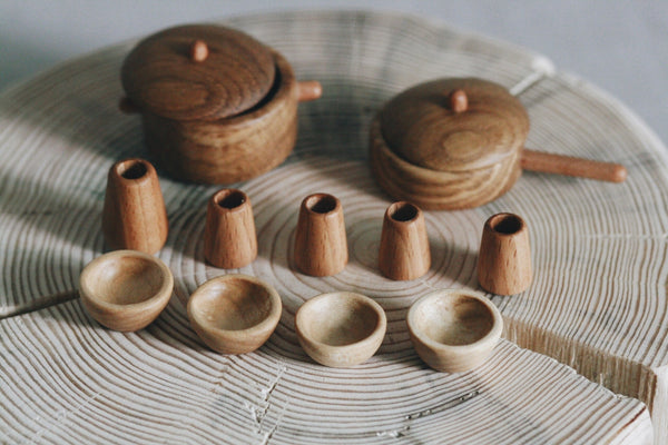 Miniature wooden cookware