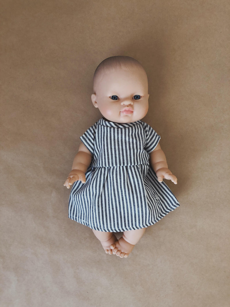 Doll Dress | Charcoal stripe
