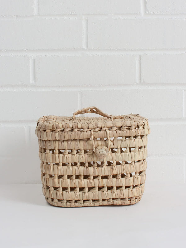 Mini Handwoven Picnic Basket