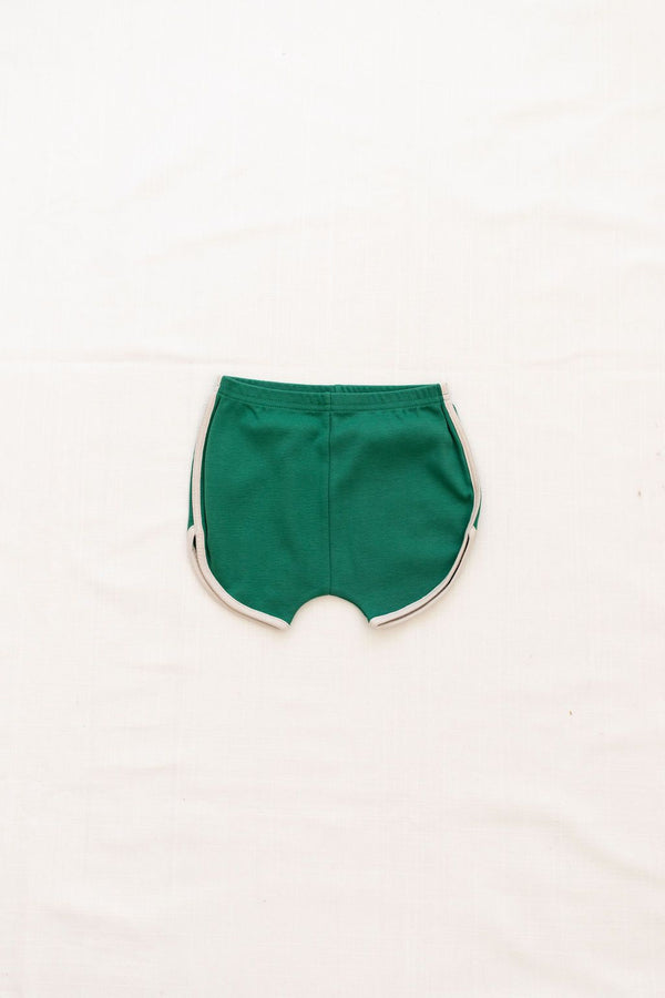 Vintage Track Shorts | emerald with oatmeal trim