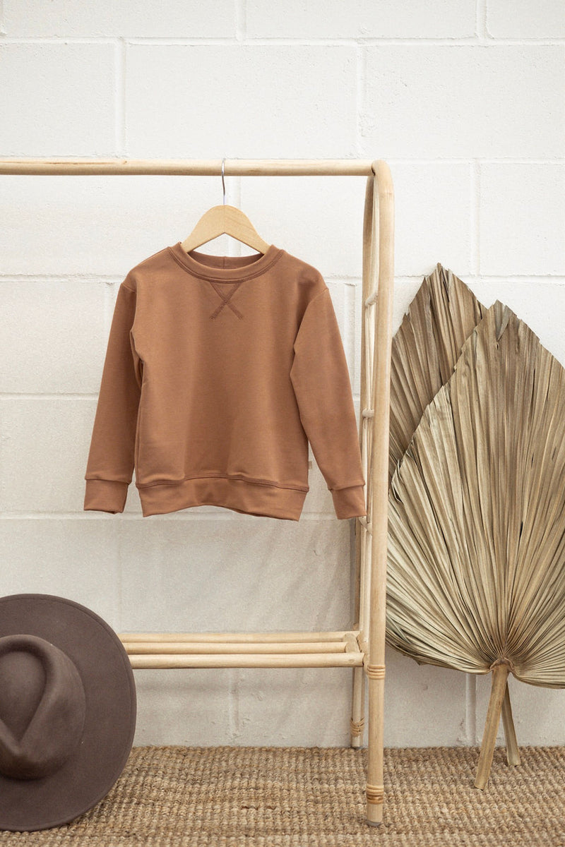 Terry Crew Neck Sweater | Terracotta