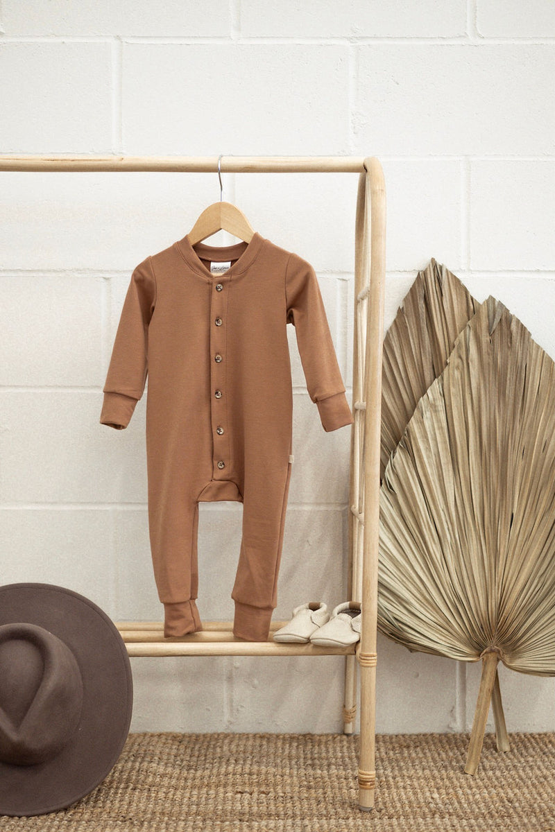 Terry Long Sleeve Romper | Terracotta