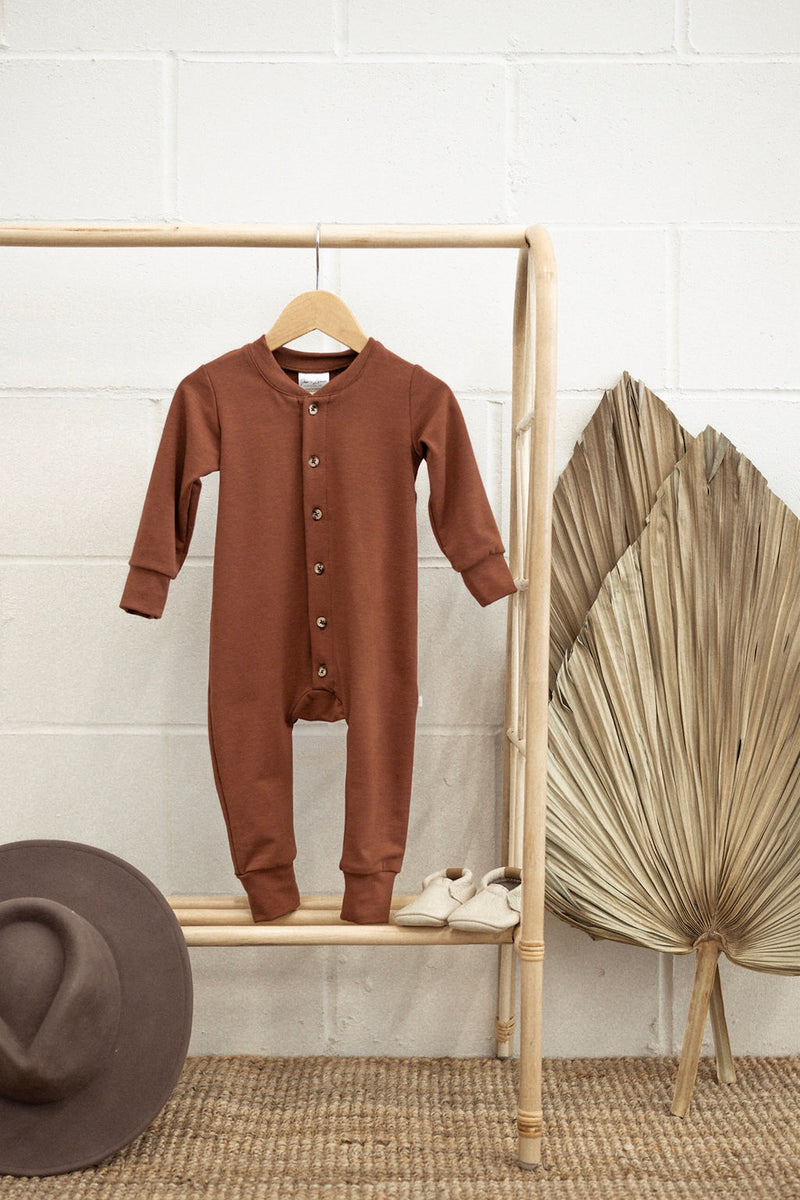 Terry Long Sleeve Romper | Rust