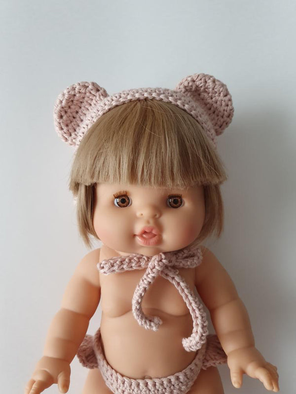 Doll Bear Bonnet | Mauve
