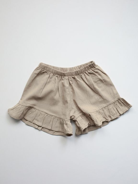 The Frill Linen Short | Oatmeal