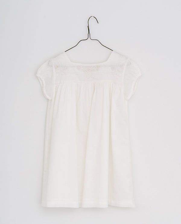 Jolie dress with embroidered yoke | off white voile