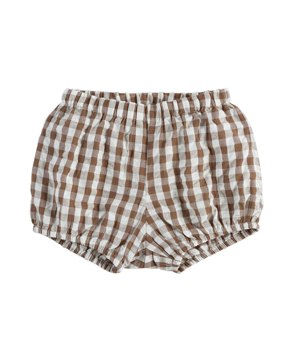 Poppy bloomers | seersucker gingham in nut