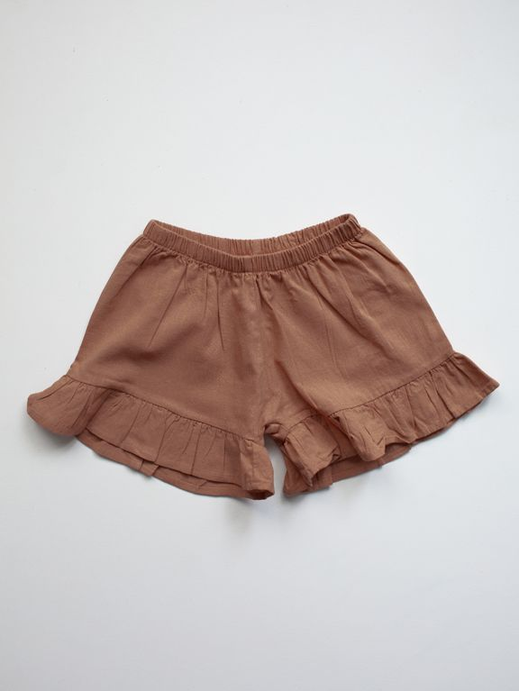 The Frill Linen Short | Cinnamon