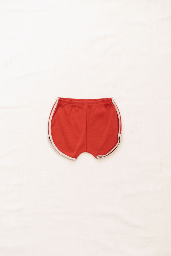 Vintage Track Shorts | Brick red with oatmeal trim