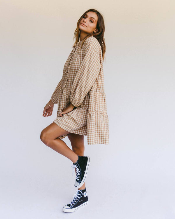Avalon Smock Dress | Caramel Gingham