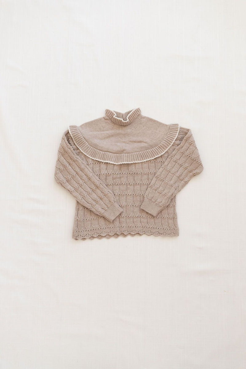 Bib Sweater | Flax with Milk trim