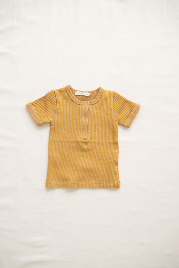 Ribbed Terry Snap Tee | Goldenrod
