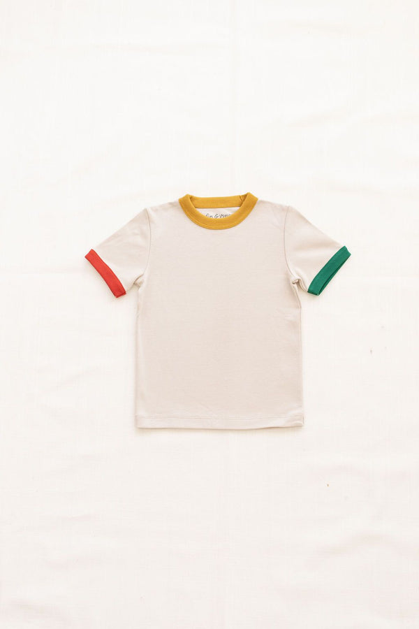 Vintage Tee | oatmeal with tri-color trim