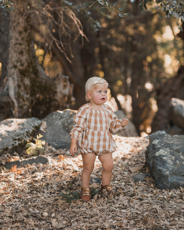 check bubble romper | cinnamon