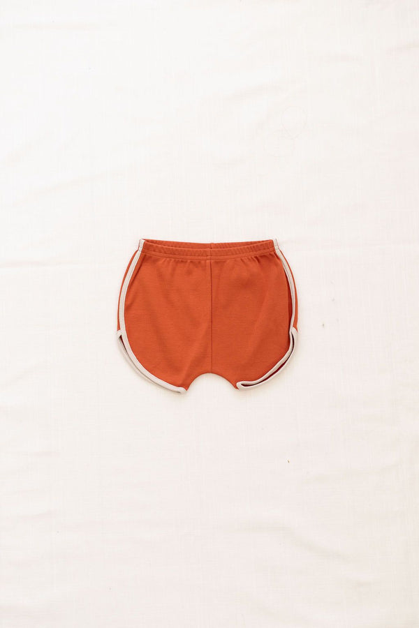 Vintage Track Shorts | red rock with oatmeal trim