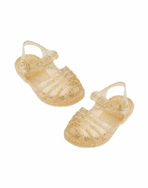 Doll Jelly Shoes | Gold Glitter
