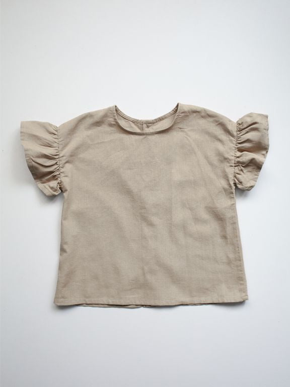 The Frill Linen Top | Oatmeal