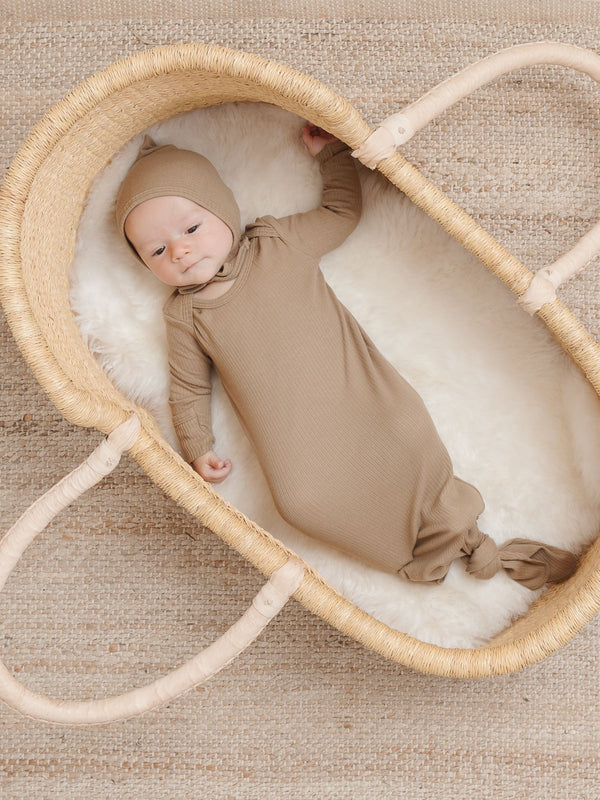 Ribbed Knotted Baby Gown | Olive