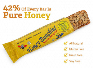 LIMITED STOCK - WILL SELL OUT SOON!  Honey Bunchies Gourmet Honey Bar, Peanut Pecan (multi-pack) 1.9 oz, 60 bars