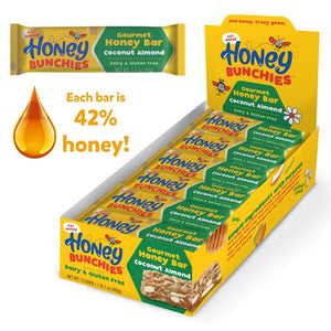 NEW! Honey Bunchies Gourmet Honey Bar, Coconut Almond (2 pack / 24 bars)