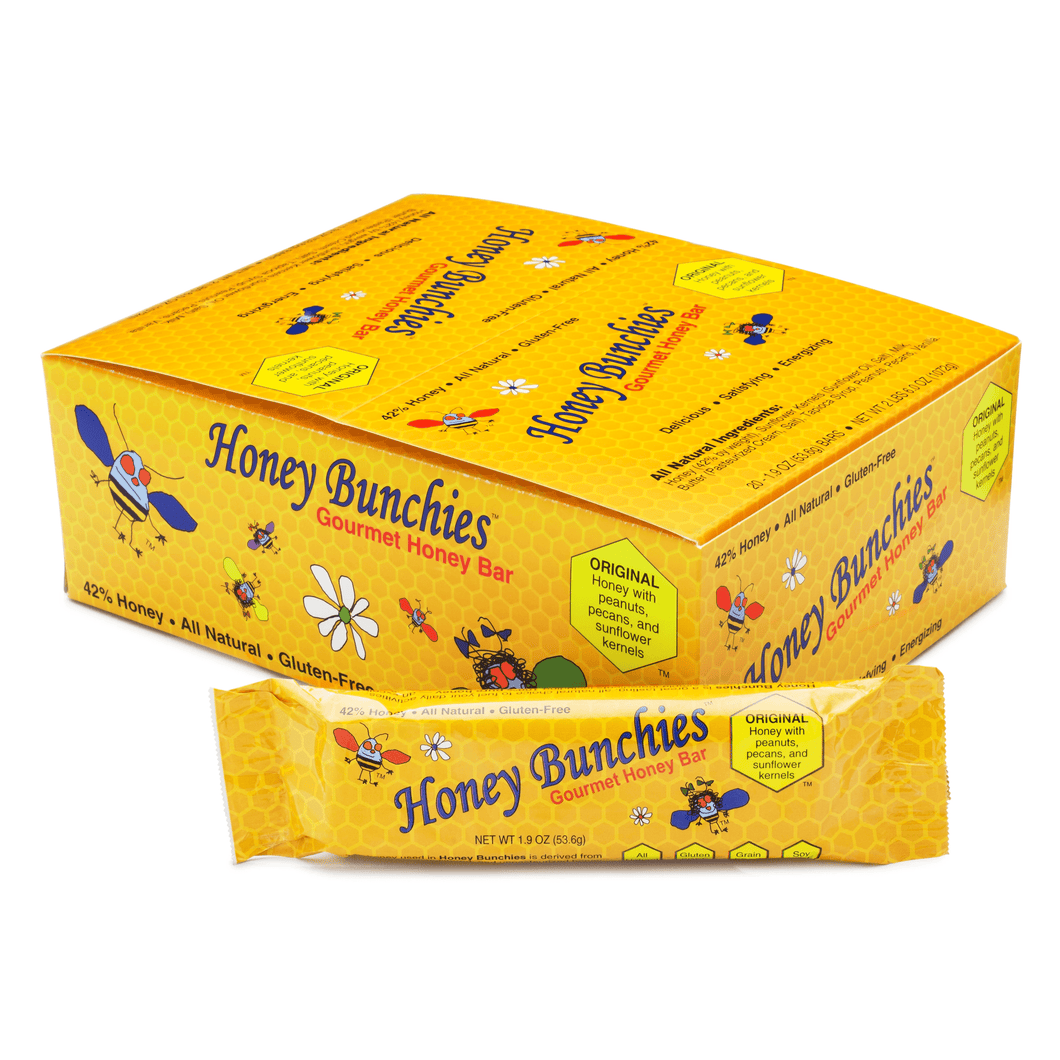 All-Natural Gourmet Honey Bars by Honey Bunchies (20 pack) - Nutritious and Delicious Pure Honey, Peanut, Sunflower Kernel, Pecan - Gluten-Free, Soy-Free, Grain-Free Snack for Energy or Workout