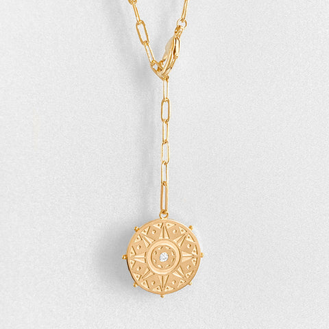 Karmic Wheel Lariat Necklace