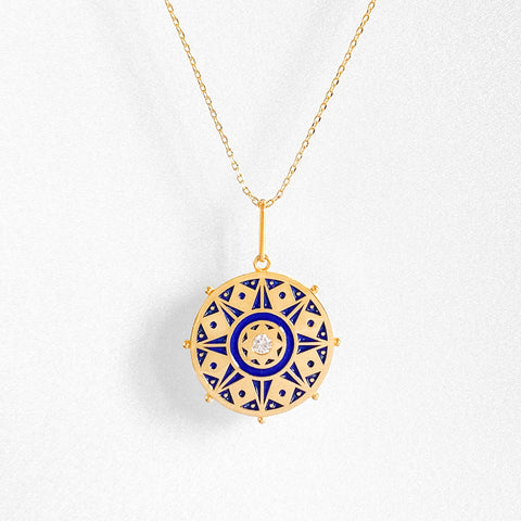Karmic Wheel Necklace w. Enamel