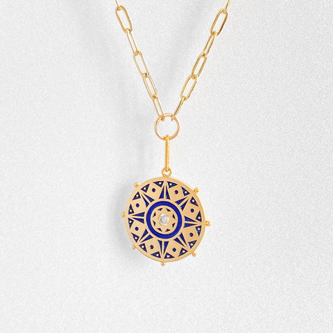 Karmic Wheel Link Necklace w. Enamel
