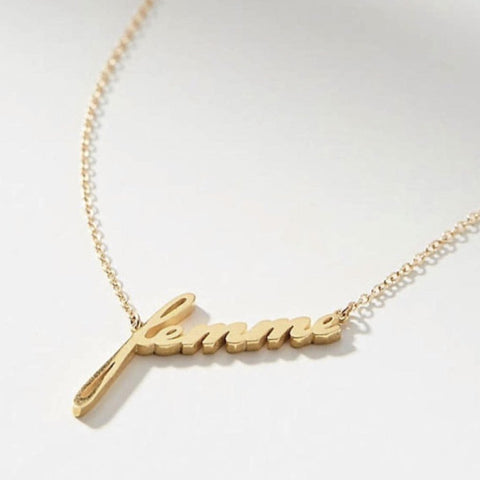 Golden Script Necklace