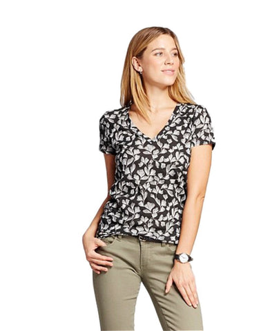100% Cotton Womens V Neck Tee Black and White Print (MD)