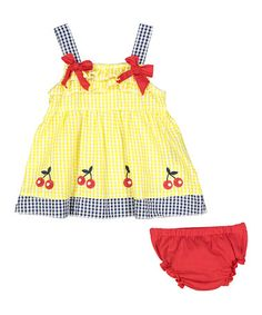 Infant Girl Seersucker A Line Dress and Diaper Cover Yellow With Cherries (6/9M)
