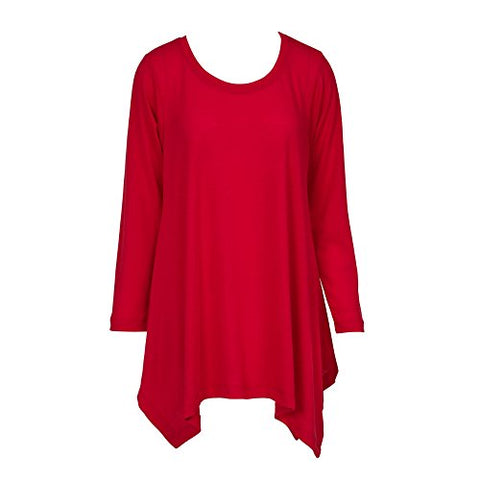 Handkerchief Tunic Top Long Sleeve Red (XXXL)