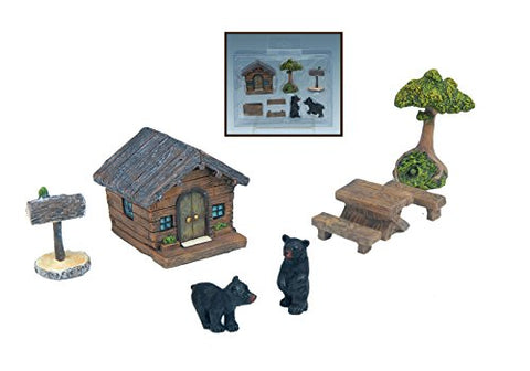 Set of 8 Fairy Garden Accessories (Black Bear Cabin)