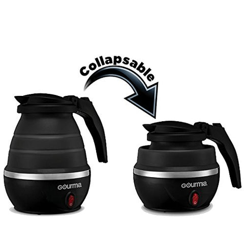 Gourmia GK360 Travel Foldable Electric Kettle - Food Grade Silicone,- Black