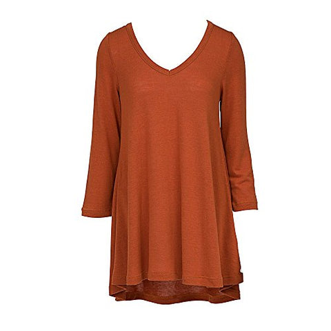 V Neck Tunic Top 3/4 Sleeve Rust (XXL)