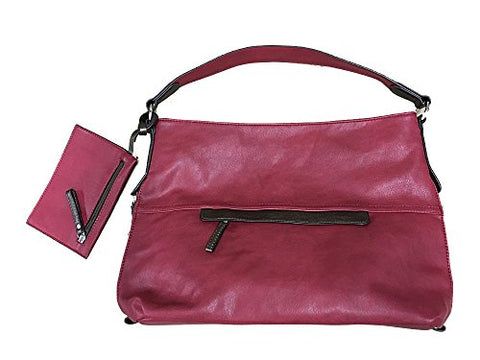 Large Hobo Handbag and Wristlet Red With Bronze Details