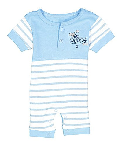 "Sweet & Soft Baby Boys ""Puppy Power"" Striped Romper (6M)"