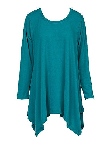 Handkerchief Tunic Top Long Sleeve Turquoise (LG/XL)