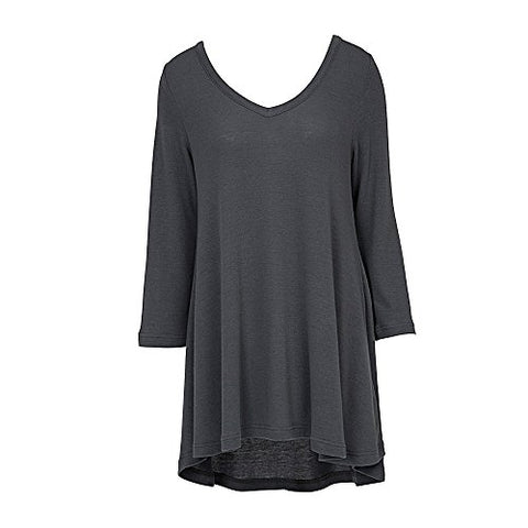 V Neck Tunic Top 3/4 Sleeve Gray (SM/MD)