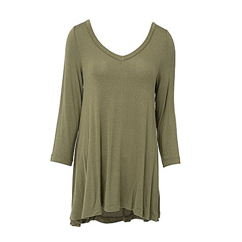 V Neck Tunic Top 3/4 Sleeve Green (LG/XL)
