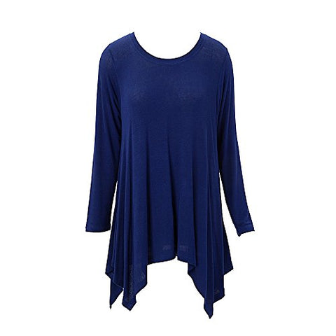 Handkerchief Tunic Top Long Sleeve Blue (XXL)