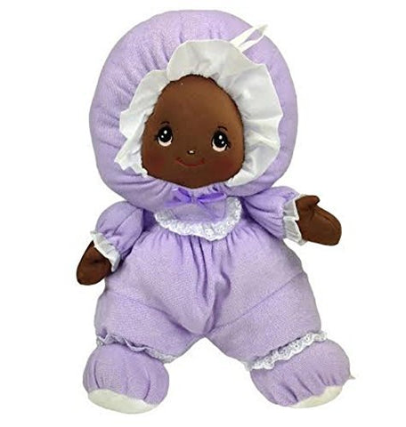 Black Baby Doll with Pretty Embroidered Face and Purple Outfit