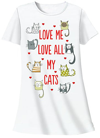 Nightshirt - Love Me Love All My Cats, One Size
